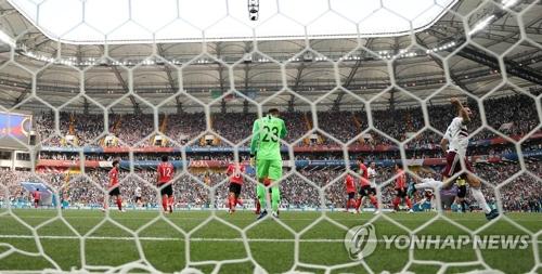 Le Mexique vient de marquer son premier but contre la Corée du Sud sur penalty, par l'intermédiaire de Carlos Vela, au stade de Rostov à Rostov-sur-le-Don, en Russie, le samedi 23 juin 2018 (heure russe).