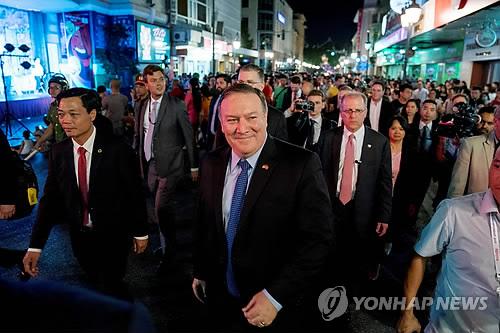 Le secrétaire d'Etat américain Mike Pompeo à Hanoï le 8 juillet 2018. (Reuters=Yonhap)