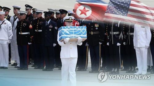 Cette image, fournie par Yonhap News TV, montre une cérémonie de rapatriement de restes de soldats américains.