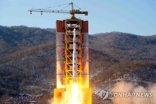 Lancement d'un soi-disant satellite le 7 février 2016 depuis la base de lancement de satellites de Sohae, en Corée du Nord. (Photo d'archives Yonhap)