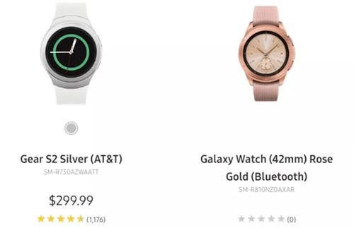 Galaxy Watch (à droite) (Capture du site Internet Sammobile)