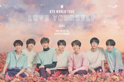 Une image promotionnelle de la tournée mondiale du boys band Bangtan Boys (BTS) qui débutera avec deux dates à Séoul, les 25 et 26 août 2018.