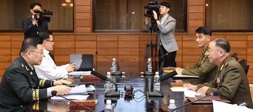 La 40e réunion militaire de niveau opérationnel est en cours le jeudi 13 septembre 2018 à Tongilgak, bâtiment nord-coréen du village de la trêve de Panmunjom. © Ministère de la Défense