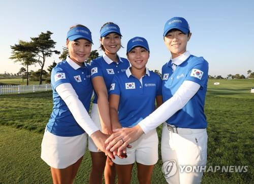 Les membres de l'équipe sud-coréenne pour la UL International Crown 2018 (de g. à dr.) : Ryu So-yeon, Chun In-gee, Kim In-kyung et Park Sung-hyun. Photo prise le 2 octobre 2018 au Jack Nicklaus Golf Club Korea à Incheon.