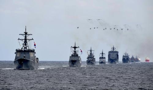 Répétition de la cérémonie de la revue navale. © Marine sud-coréenne