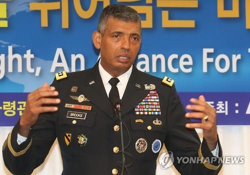 講演会で発言するブルックス司令官=4日、ソウル(聯合ニュース)