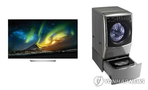 LG電子の「OLEDテレビ」と「TROMMツインウォッシュ」(同社提供)=(聯合ニュース)