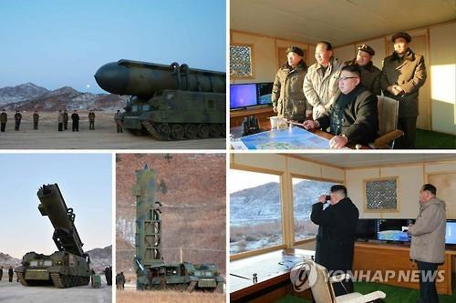労働新聞が13日に公開した「北極星2型」発射の写真。金正恩・朝鮮労働党委員長が立ち会ったという=(労働新聞=聯合ニュース)