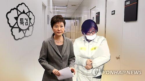 朴大統領(左)と崔被告=(聯合ニュースTV)