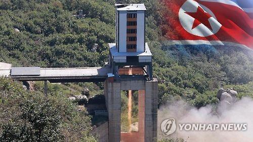 エンジン燃焼実験が行われた北朝鮮・東倉里の西海衛星発射場=(聯合ニュースTV)
