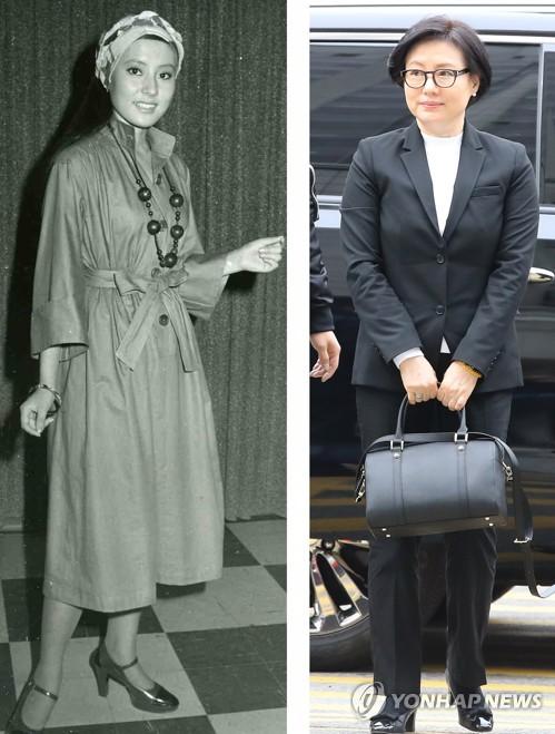 ソウル地裁入りする徐美敬氏(右)、左は1970年代の写真=20日、ソウル(聯合ニュース)