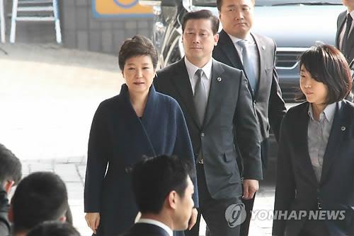 検察に出頭した朴氏=21日、ソウル(聯合ニュース)