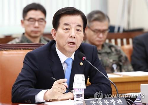 国会国防委員会で発言する韓氏=16日、ソウル(聯合ニュース)