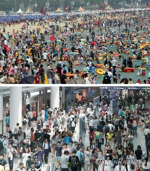 大勢の人でにぎわう海水浴場(上)と仁川国際空港(資料写真)=(聯合ニュース)