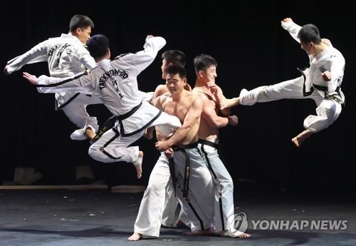 演武を披露するITFの北朝鮮演武団=28日、ソウル(聯合ニュース)