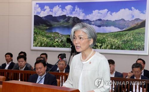 国会外交統一委員会で答弁する姜長官=10日、ソウル(聯合ニュース)