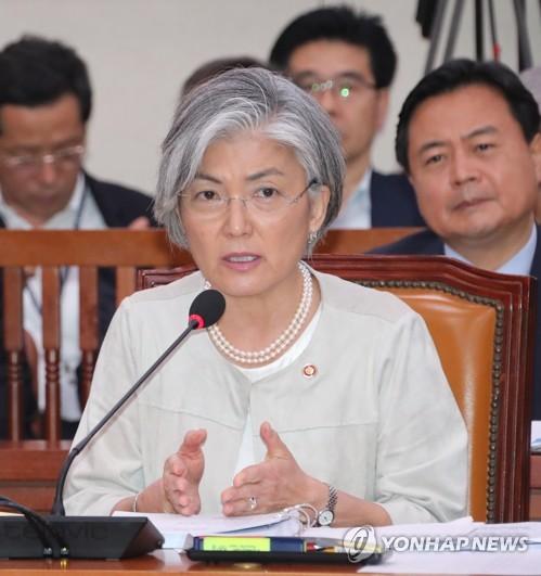 国会外交統一委員会で答弁する康長官=10日、ソウル(聯合ニュース)