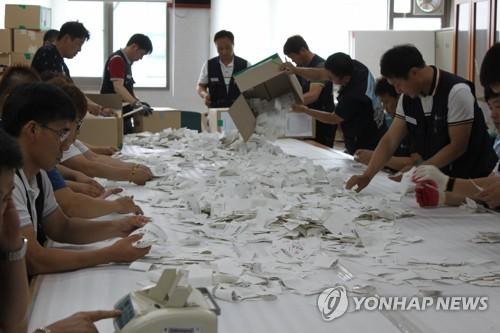 労組事務所で行われた投票の開票=14日、蔚山(聯合ニュース)