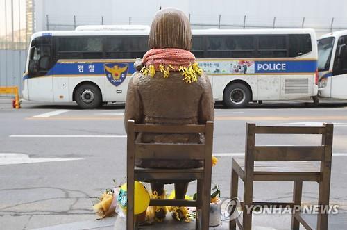 建て替え工事中のソウルの日本大使館前に設置された少女像。労働者像の設置計画について関係機関や少女像の管理団体は困惑を隠せず、今後の論争が予想される=(聯合ニュース)