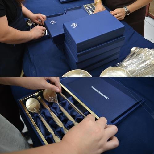 トータルアートの箸とさじのセット(同社提供)=(聯合ニュース)