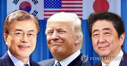 左から文大統領、トランプ大統領、安倍首相=(聯合ニュース)