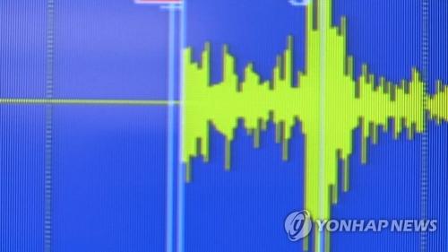 地震グラフ(聯合ニュースTVより)=(聯合ニュース)