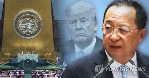 北朝鮮の李外相は国連演説で、トランプ米大統領を強く非難。軍事的攻撃の兆候を示した場合、先制行動を取ると警告した=(聯合ニュース)