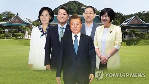 文大統領(中央)と与野党4党の代表=(聯合ニュース)
