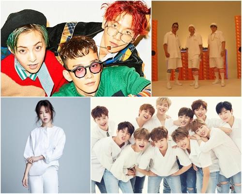 「ドリームコンサート」の出演者。左上から時計回りにEXO—CBX、DJ DOC、WANNA ONE、ペク・チヨン(韓国芸能制作者協会提供)=(聯合ニュース)