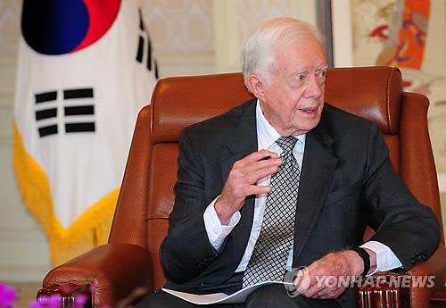2011年4月28日、訪朝を終えた後に韓国を訪問したカーター氏=(聯合ニュース)