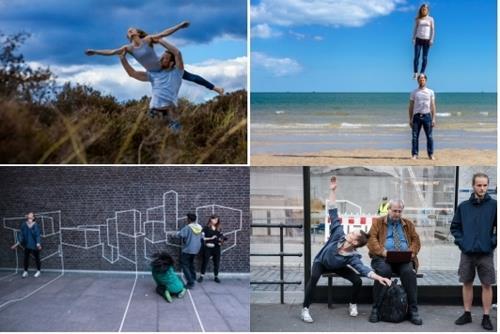 英国のパフォーミングアート団体によるサーカス(上段)とスイスの芸術家グループによる舞踊(文化体育観光部提供)=(聯合ニュース)