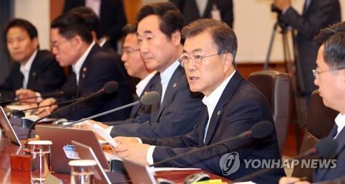 閣議で発言する文在寅(ムン・ジェイン)大統領(資料写真)=(聯合ニュース)