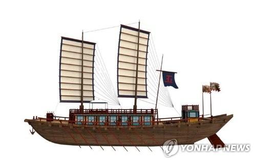 3Dで再現された朝鮮通信使船(資料写真)=(聯合ニュース)