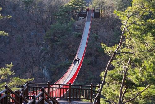 韓国最長の紺岳山つり橋=(聯合ニュース)