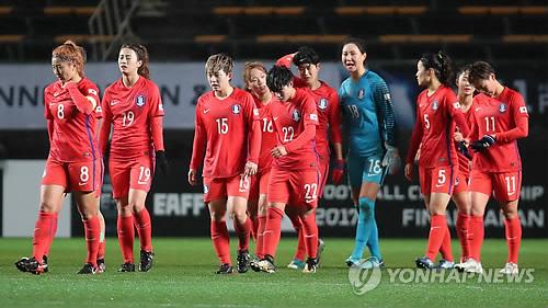 試合を終えた韓国女子代表=8日、千葉(聯合ニュース)