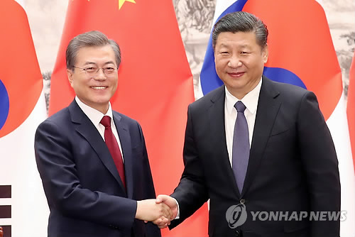 会談で握手を交わす文大統領(左)と習主席=14日、北京(聯合ニュース)