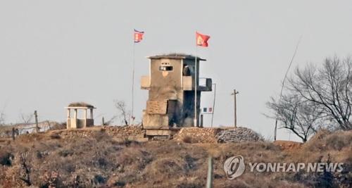 南北軍事境界線付近の臨津江沿いにある北朝鮮の見張り所(資料写真)=2日、坡州(聯合ニュース)