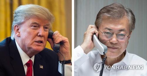 文大統領(右)とトランプ大統領(資料写真)=(聯合ニュース)