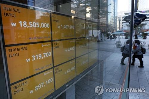 仮想通貨の価格を表示するモニター(資料写真)=(聯合ニュース)