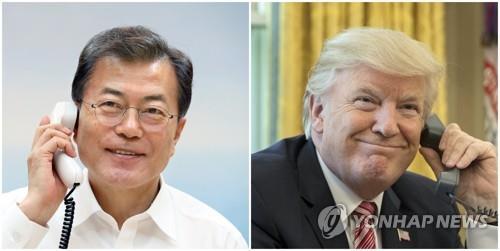 文大統領(左)とトランプ大統領(資料写真)=(聯合ニュース)