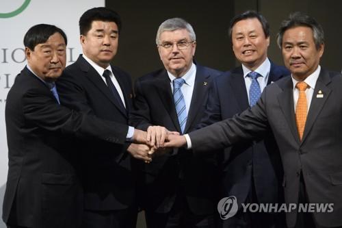 IOC本部で行われた4者会談で北朝鮮の平昌五輪参加が正式決定した=(EPA=聯合ニュース)