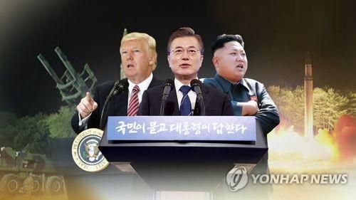 (左から)トランプ米大統領、文在寅大統領、金正恩(キム・ジョンウン)朝鮮労働党委員長(聯合ニュースTV提供)=(聯合ニュース)