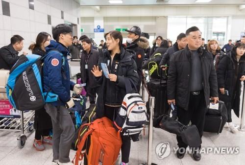 スキー合同練習のため北朝鮮へ出発する選手ら=31日、襄陽(写真共同取材団=聯合ニュース)