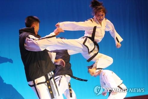 昨年6月、全羅北道庁で技を披露する北朝鮮のテコンドー演武団=(聯合ニュース)