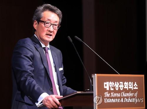 昨年1月18日、ソウル市内で開かれたセミナーで講演するチャ氏=(聯合ニュース)