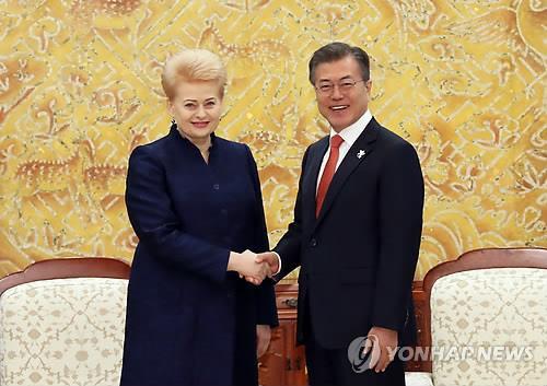 握手を交わす文大統領(右)とグリバウスカイテ大統領=7日、ソウル(聯合ニュース)