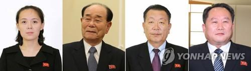 北朝鮮の代表団。左から金与正氏、金永南氏、崔輝氏、李善権氏(資料写真)=(聯合ニュース)