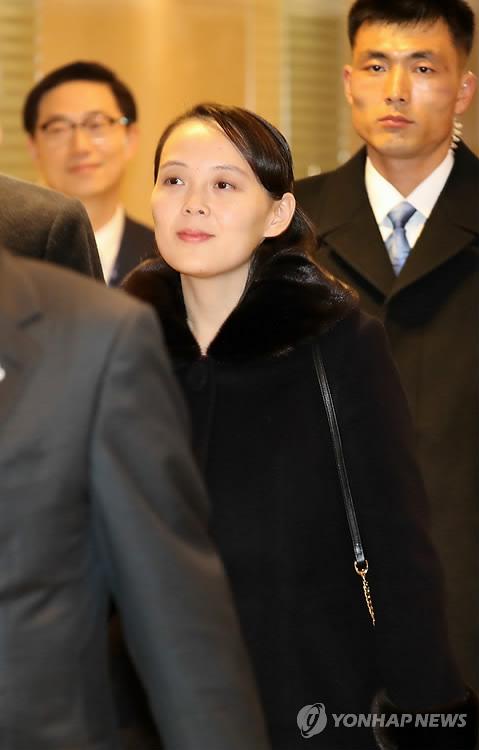 仁川国際空港に到着した金与正氏=9日、仁川(聯合ニュース)