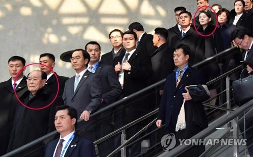 KTXの乗り場に移動する北朝鮮代表団。赤い丸は金永南氏と金与正氏=9日、仁川(聯合ニュース)