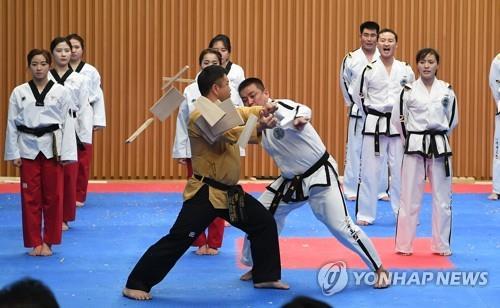 ソウル市庁で合同公演を行う南北のテコンドー演武団=12日、ソウル(聯合ニュース)